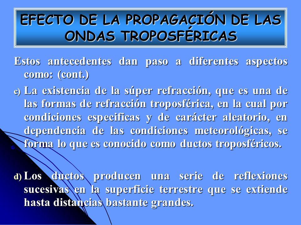 Estos antecedentes dan paso a diferentes aspectos como: (cont.) c) La existencia de la súper refracción, que es una de las formas de refracción tropos