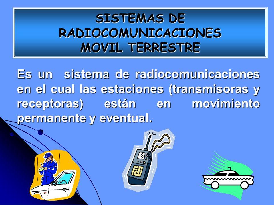SISTEMAS DE RADIOCOMUNICACIONES MOVIL TERRESTRE Es un sistema de radiocomunicaciones en el cual las estaciones (transmisoras y receptoras) están en mo