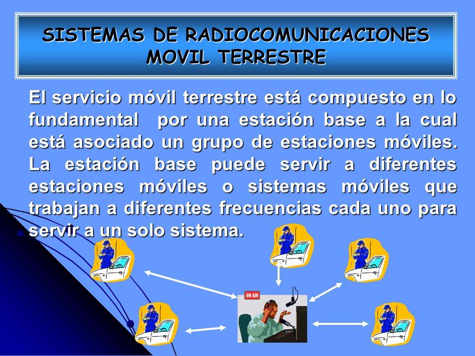 El servicio móvil terrestre está compuesto en lo fundamental por una estación base a la cual está asociado un grupo de estaciones móviles. La estación