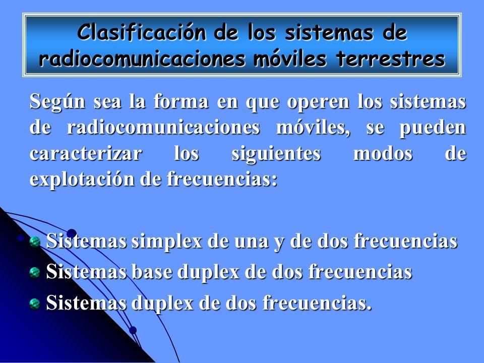 Clasificación de los sistemas de radiocomunicaciones móviles terrestres Según sea la forma en que operen los sistemas de radiocomunicaciones móviles,