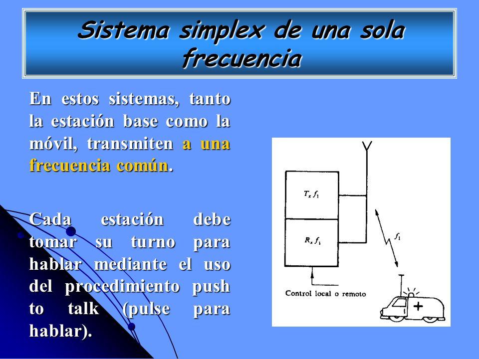 Sistema simplex de una sola frecuencia En estos sistemas, tanto la estación base como la móvil, transmiten a una frecuencia común. Cada estación debe