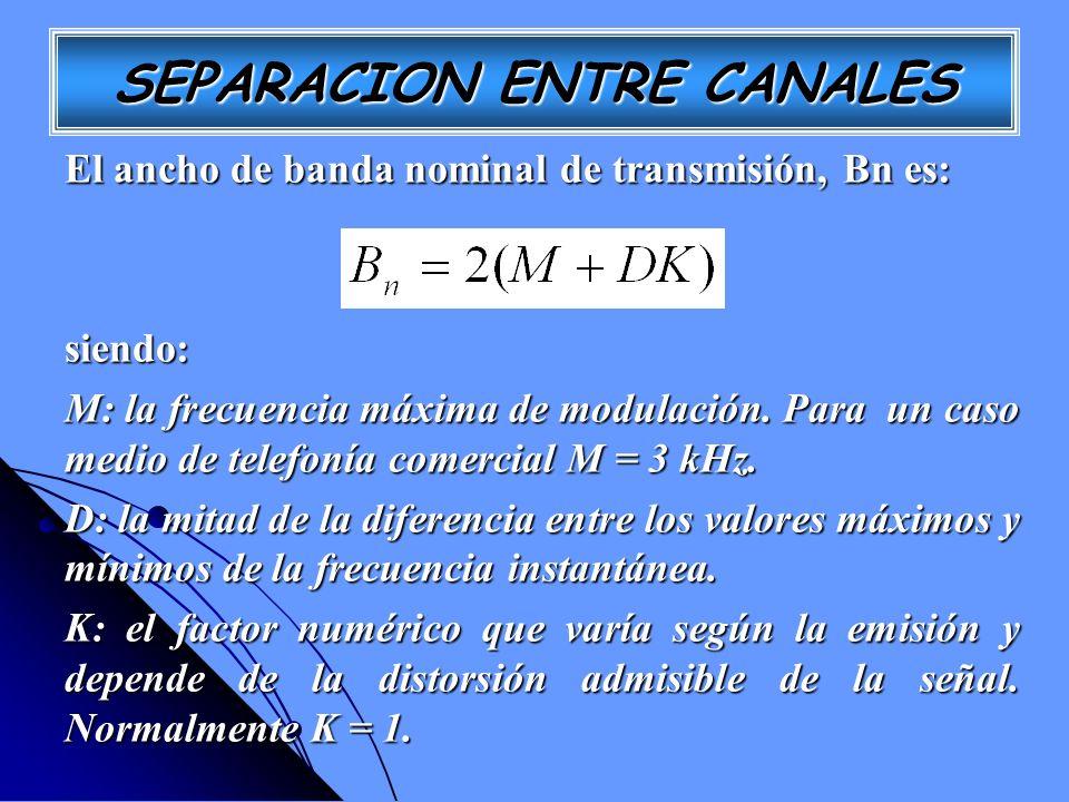 SEPARACION ENTRE CANALES El ancho de banda nominal de transmisión, Bn es: siendo: M: la frecuencia máxima de modulación. Para un caso medio de telefon
