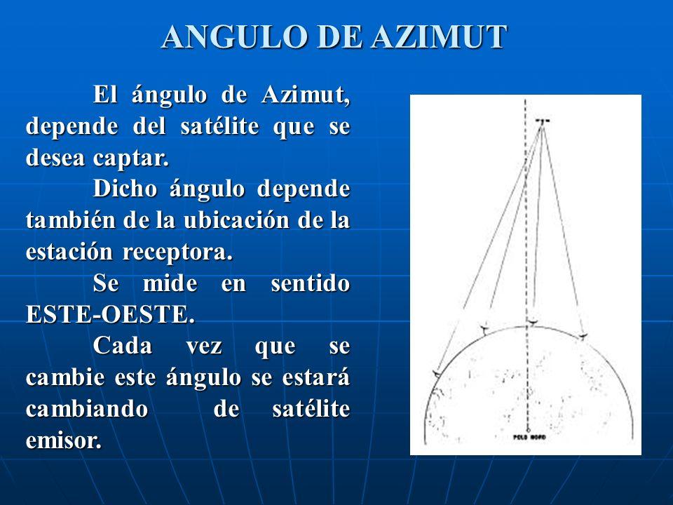 El ángulo de Azimut, depende del satélite que se desea captar. Dicho ángulo depende también de la ubicación de la estación receptora. Se mide en senti