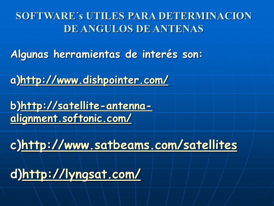 Algunas herramientas de interés son: a)http://www.dishpointer.com/ http://www.dishpointer.com/ b)http://satellite-antenna- alignment.softonic.com/ htt