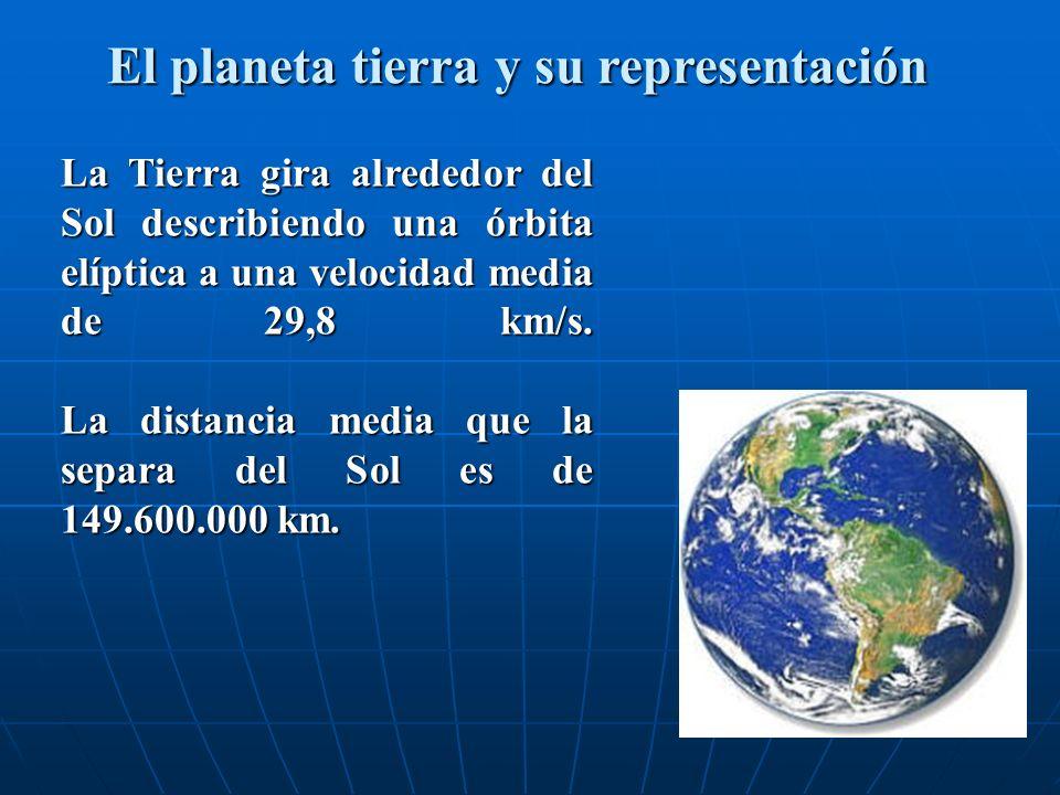 El planeta tierra y su representación La Tierra gira alrededor del Sol describiendo una órbita elíptica a una velocidad media de 29,8 km/s. La distanc