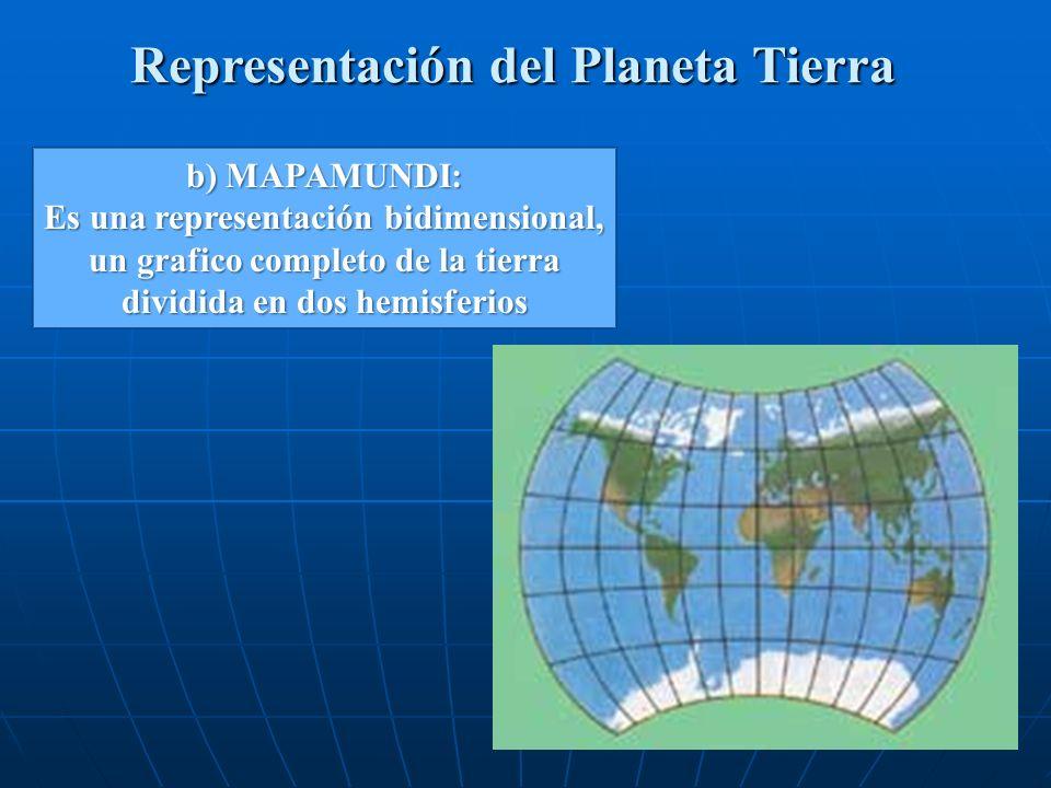 Representación del Planeta Tierra b) MAPAMUNDI: Es una representación bidimensional, un grafico completo de la tierra dividida en dos hemisferios