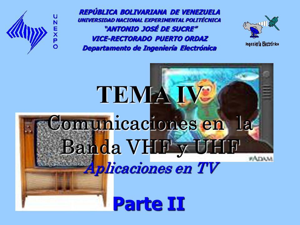 Comunicaciones en la Banda VHF y UHF Aplicaciones en TV REPÚBLICA BOLIVARIANA DE VENEZUELA UNIVERSIDAD NACIONAL EXPERIMENTAL POLITÉCNICA ANTONIO JOSÉ