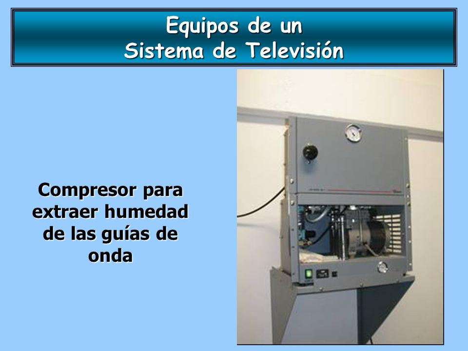Compresor para extraer humedad de las guías de onda Equipos de un Sistema de Televisión
