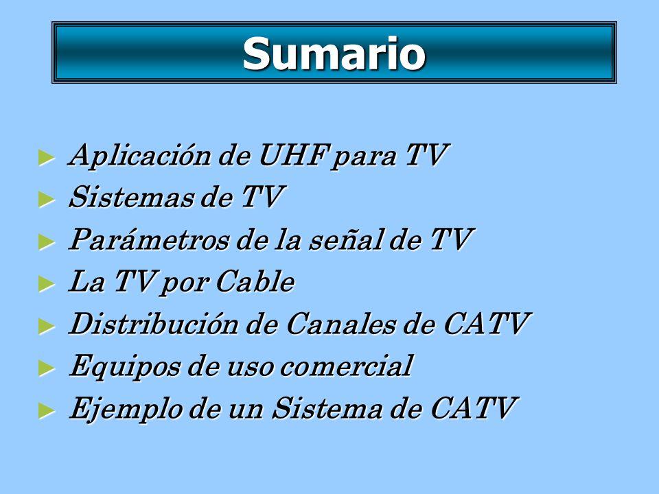 Sumario Aplicación de UHF para TV Aplicación de UHF para TV Sistemas de TV Sistemas de TV Parámetros de la señal de TV Parámetros de la señal de TV La