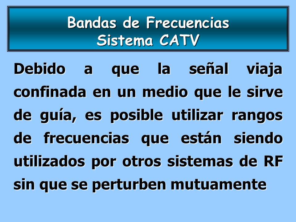 Bandas de Frecuencias Sistema CATV Debido a que la señal viaja confinada en un medio que le sirve de guía, es posible utilizar rangos de frecuencias q