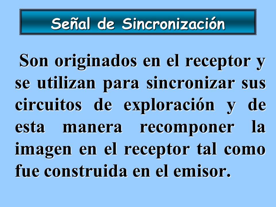 Señal de Sincronización Son originados en el receptor y se utilizan para sincronizar sus circuitos de exploración y de esta manera recomponer la image