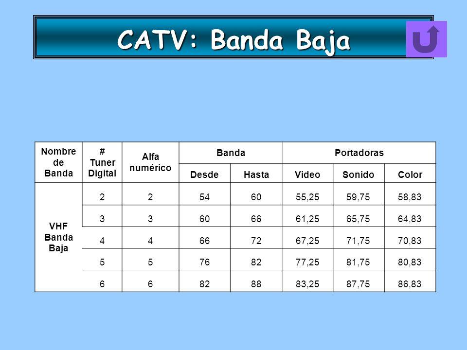 CATV: Banda Baja Nombre de Banda # Tuner Digital Alfa numérico BandaPortadoras DesdeHastaVideoSonidoColor VHF Banda Baja 22546055,2559,7558,83 3360666