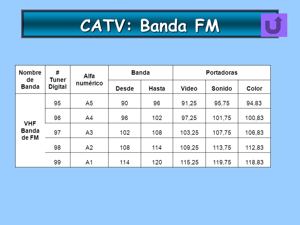 CATV: Banda FM Nombre de Banda # Tuner Digital Alfa numérico BandaPortadoras DesdeHastaVideoSonidoColor VHF Banda de FM 95A5909691,2595,7594,83 96A496