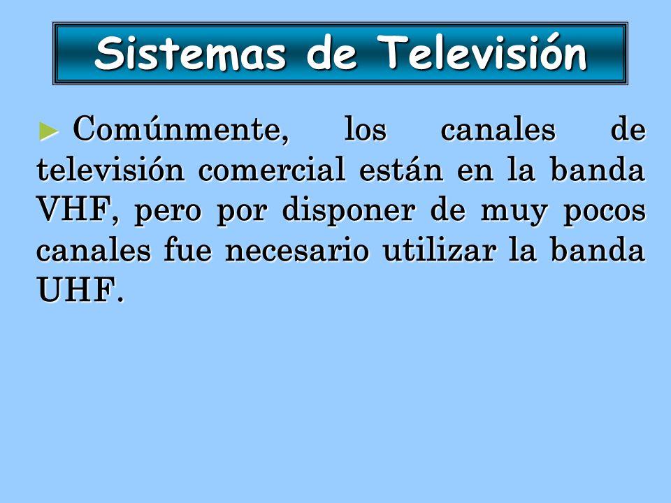 Sistemas de Televisión Comúnmente, los canales de televisión comercial están en la banda VHF, pero por disponer de muy pocos canales fue necesario uti