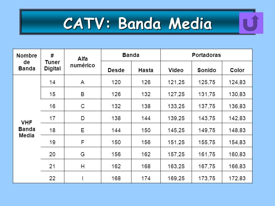 CATV: Banda Media Nombre de Banda # Tuner Digital Alfa numérico BandaPortadoras DesdeHastaVideoSonidoColor VHF Banda Media 14A120126121,25125,75124,83
