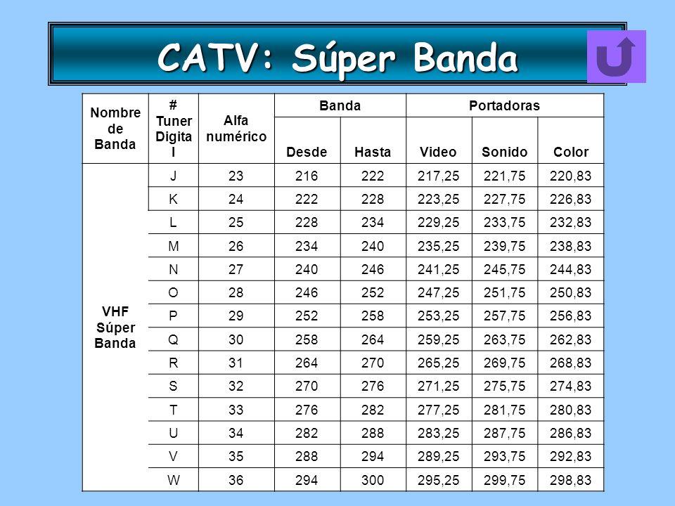 CATV: Súper Banda Nombre de Banda # Tuner Digita l Alfa numérico BandaPortadoras DesdeHastaVideoSonidoColor VHF Súper Banda J23216222217,25221,75220,8