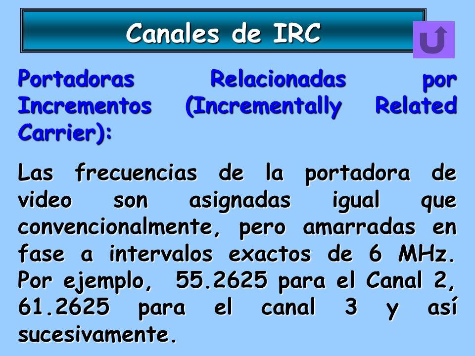 Canales de IRC Portadoras Relacionadas por Incrementos (Incrementally Related Carrier): Las frecuencias de la portadora de video son asignadas igual q