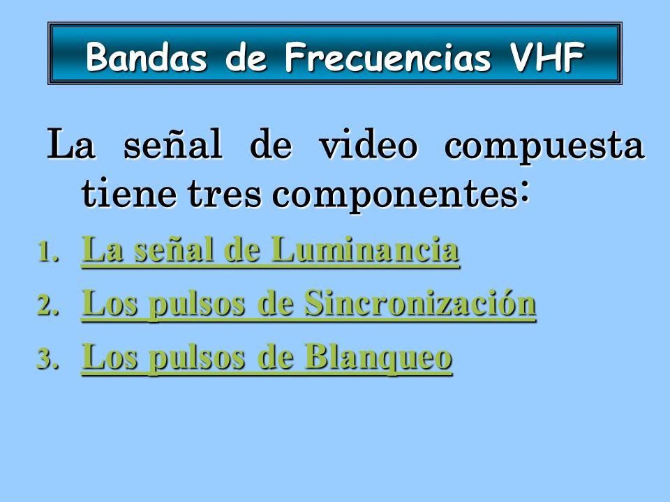 Bandas de Frecuencias VHF La señal de video compuesta tiene tres componentes: La señal de video compuesta tiene tres componentes: 1. La señal de Lumin