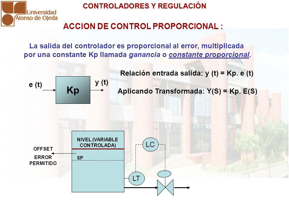 CONTROLADORES Y REGULACIÓN CONTROLADORES Y REGULACIÓN ACCION DE CONTROL PROPORCIONAL : La salida del controlador es proporcional al error, multiplicad