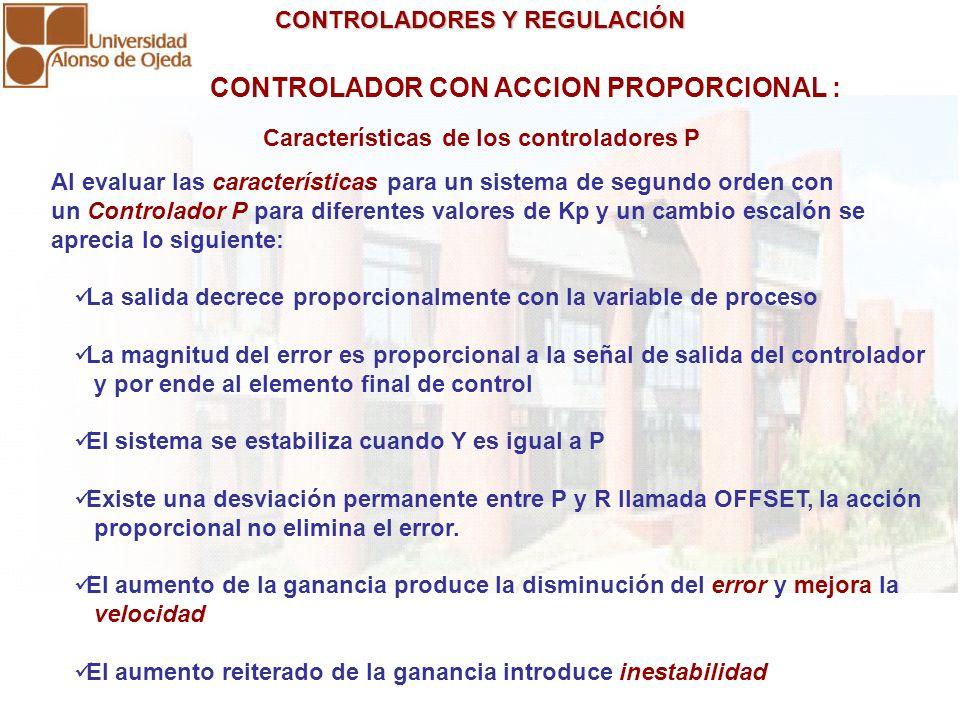 CONTROLADORES Y REGULACIÓN CONTROLADORES Y REGULACIÓN CONTROLADOR CON ACCION PROPORCIONAL : Al evaluar las características para un sistema de segundo