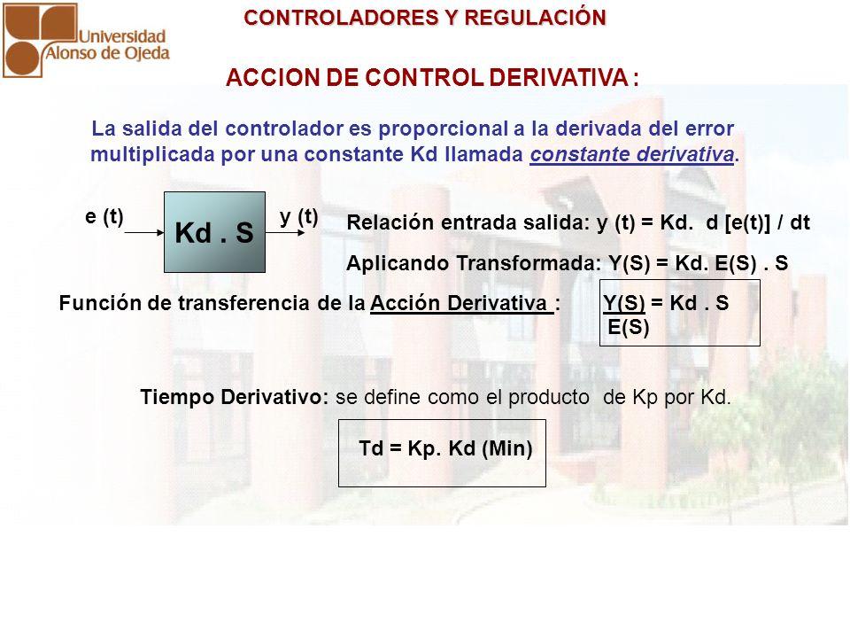 CONTROLADORES Y REGULACIÓN CONTROLADORES Y REGULACIÓN ACCION DE CONTROL DERIVATIVA : La salida del controlador es proporcional a la derivada del error