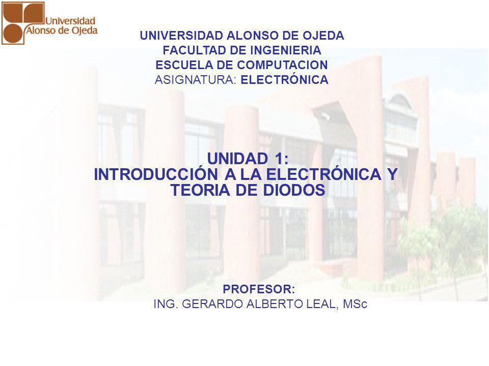 UNIDAD I: INTRODUCCIÓN A LA ELECTRÓNICA Y TEORIA DE DIODOS UNIDAD I: INTRODUCCIÓN A LA ELECTRÓNICA Y TEORIA DE DIODOS CONCEPTO DE ELECTRÓNICA Es el campo de la física y la ingeniería que estudia el diseño y aplicación de dispositivos, cuyo funcionamiento depende del flujo de electrones en el espacio, en semiconductores o en otros medios especiales, para la generación, transmisión, recepción, almacenamiento y control de la información.