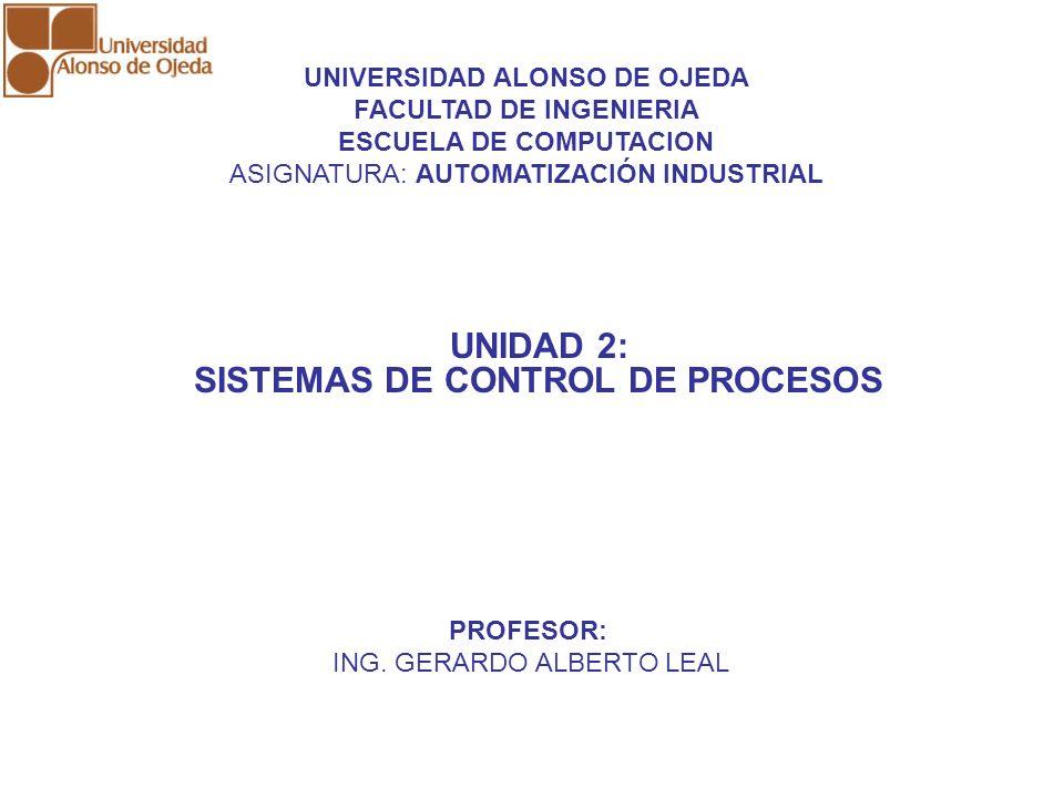 UNIDAD 2: SISTEMAS DE CONTROL DE PROCESOS UNIDAD 2: SISTEMAS DE CONTROL DE PROCESOS UNIDAD 2: SISTEMAS DE CONTROL DE PROCESOS UNIVERSIDAD ALONSO DE OJ