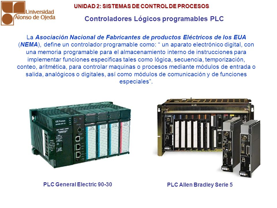 UNIDAD 2: SISTEMAS DE CONTROL DE PROCESOS UNIDAD 2: SISTEMAS DE CONTROL DE PROCESOS Controladores Lógicos programables PLC PLC General Electric 90-30