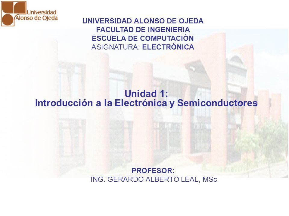 UNIDAD I: INTRODUCCIÓN A LA ELECTRÓNICA Y SEMICONDUCTORES UNIDAD I: INTRODUCCIÓN A LA ELECTRÓNICA Y SEMICONDUCTORES CONCEPTO DE ELECTRÓNICA Es el campo de la física y la ingeniería que estudia el diseño y aplicación de dispositivos, cuyo funcionamiento depende del flujo de electrones en semiconductores o en medios especiales, para generación, transmisión, recepción, almacenamiento y control de información.