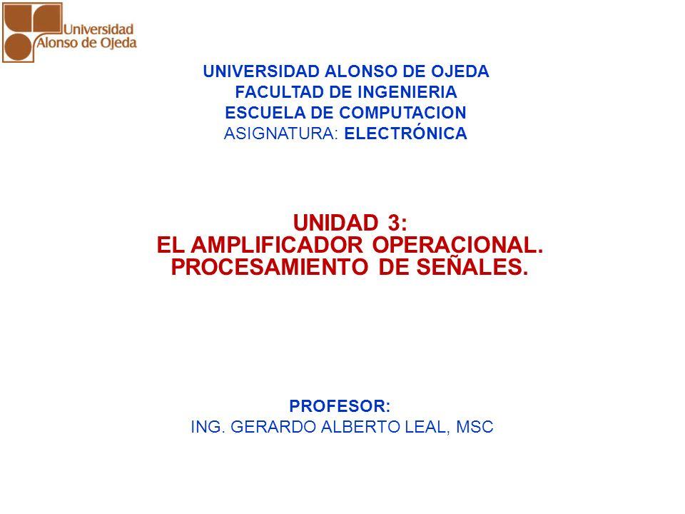 UNIDAD 3: AMPLIFICADORES OPERACIONALES UNIDAD 3: AMPLIFICADORES OPERACIONALES UNIDAD 3: EL AMPLIFICADOR OPERACIONAL. PROCESAMIENTO DE SEÑALES. UNIVERS