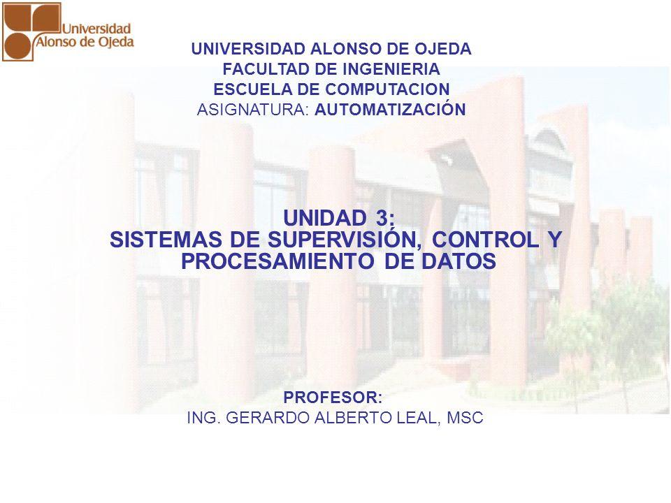 UNIDAD 3: SISTEMAS DE SUPERVISIÓN, CONTROL Y PROCESAMIENTO DE DATOS UNIDAD 3: SISTEMAS DE SUPERVISIÓN, CONTROL Y PROCESAMIENTO DE DATOS UNIVERSIDAD AL
