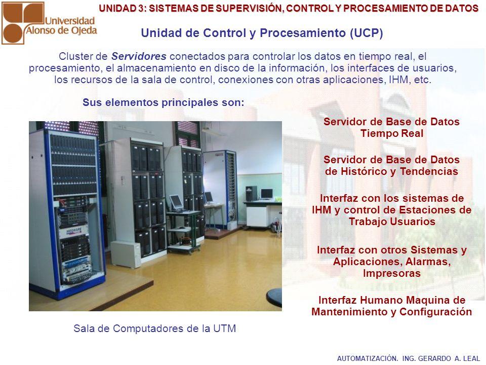 UNIDAD 3: SISTEMAS DE SUPERVISIÓN, CONTROL Y PROCESAMIENTO DE DATOS Unidad de Control y Procesamiento (UCP) Cluster de Servidores conectados para cont