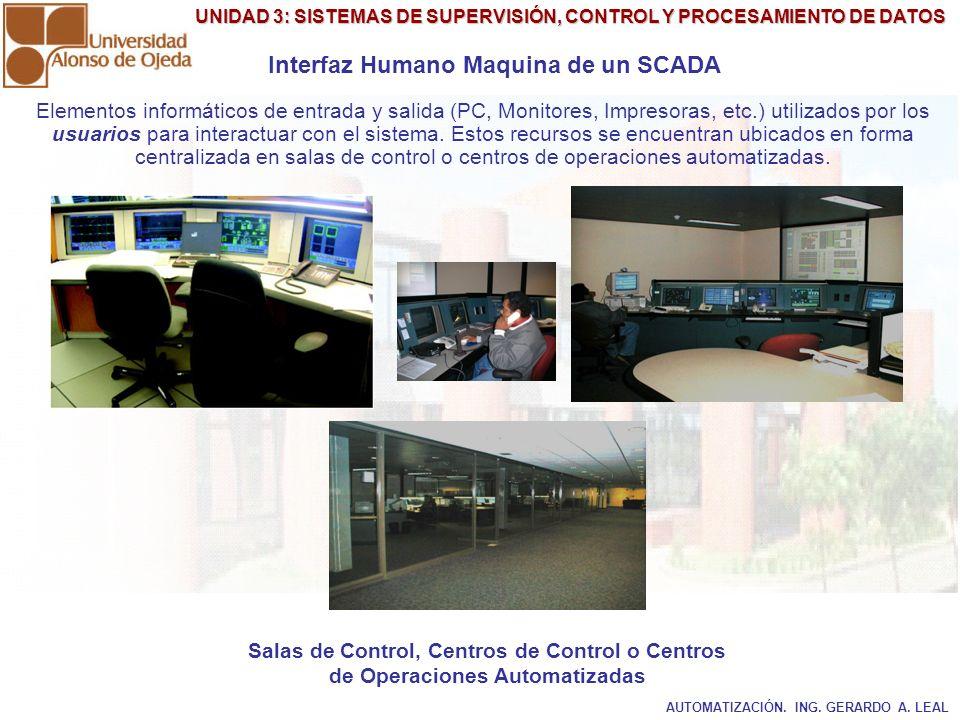 UNIDAD 3: SISTEMAS DE SUPERVISIÓN, CONTROL Y PROCESAMIENTO DE DATOS Interfaz Humano Maquina de un SCADA Salas de Control, Centros de Control o Centros