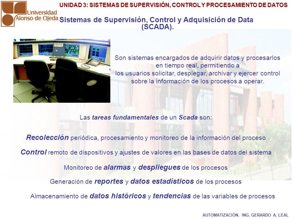 UNIDAD 3: SISTEMAS DE SUPERVISIÓN, CONTROL Y PROCESAMIENTO DE DATOS Sistemas de Supervisión, Control y Adquisición de Data (SCADA). Son sistemas encar