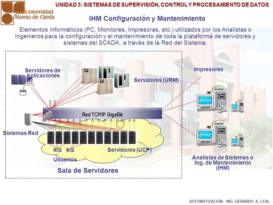 UNIDAD 3: SISTEMAS DE SUPERVISIÓN, CONTROL Y PROCESAMIENTO DE DATOS IHM Configuración y Mantenimiento Servidores (UCP) Servidores (URM) Servidores de