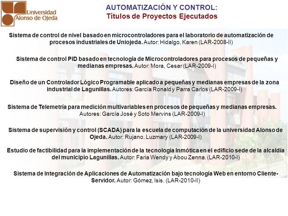 Sistema de control de nivel basado en microcontroladores para el laboratorio de automatización de procesos industriales de Uniojeda. Autor: Hidalgo, K