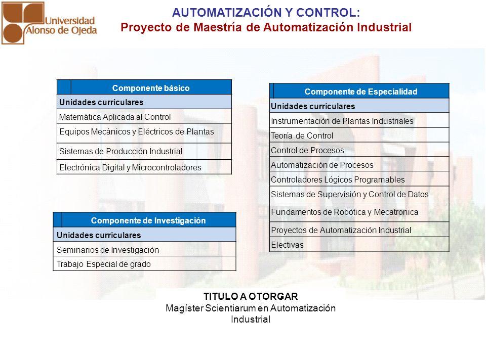 AUTOMATIZACIÓN Y CONTROL: Proyecto de Maestría de Automatización Industrial Componente básico Unidades curriculares Matemática Aplicada al Control Equ