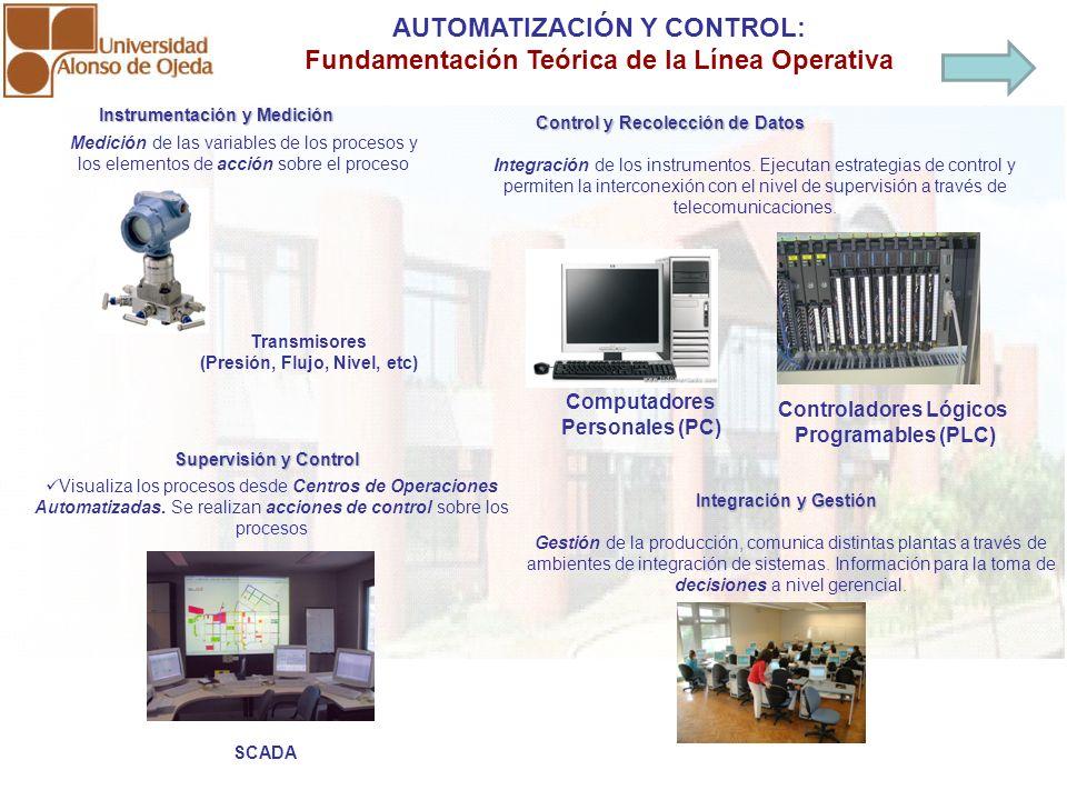 AUTOMATIZACIÓN Y CONTROL: Fundamentación Teórica de la Línea Operativa Instrumentación y Medición Medición de las variables de los procesos y los elem