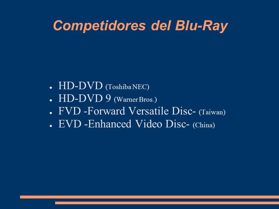 Competidores del Blu-Ray HD-DVD (Toshiba NEC) HD-DVD 9 (Warner Bros.) FVD -Forward Versatile Disc- (Taiwan) EVD -Enhanced Video Disc- (China)