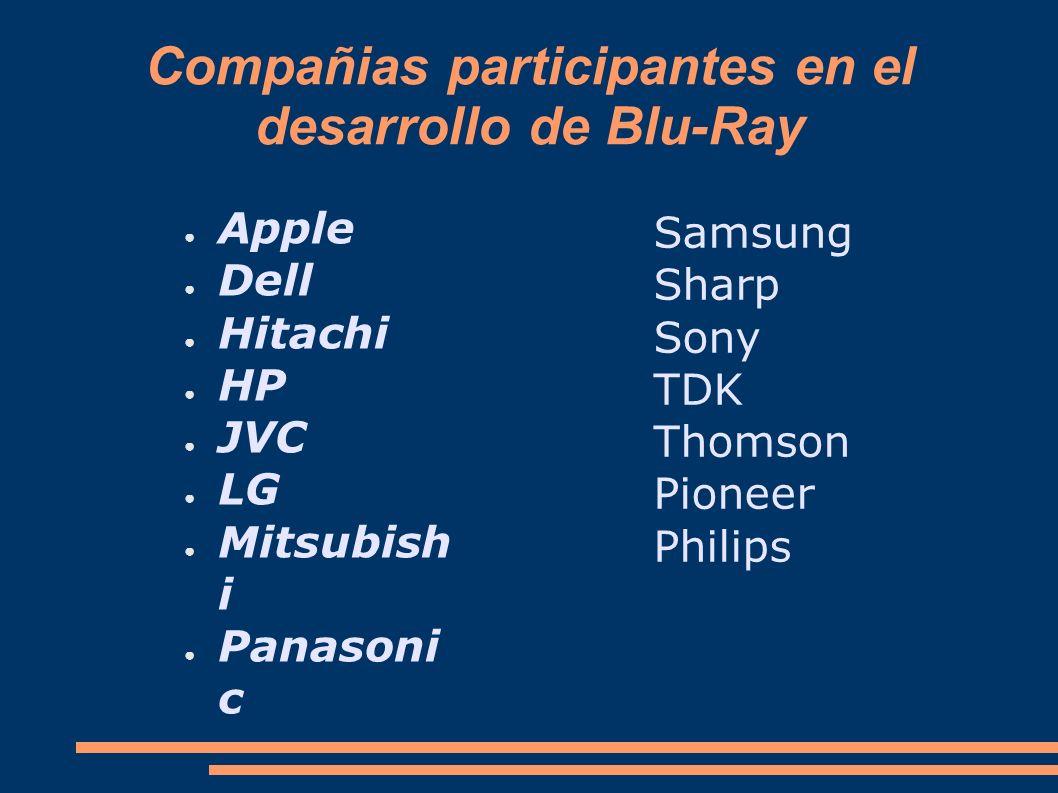 Compañias participantes en el desarrollo de Blu-Ray Apple Dell Hitachi HP JVC LG Mitsubish i Panasoni c Samsung Sharp Sony TDK Thomson Pioneer Philips