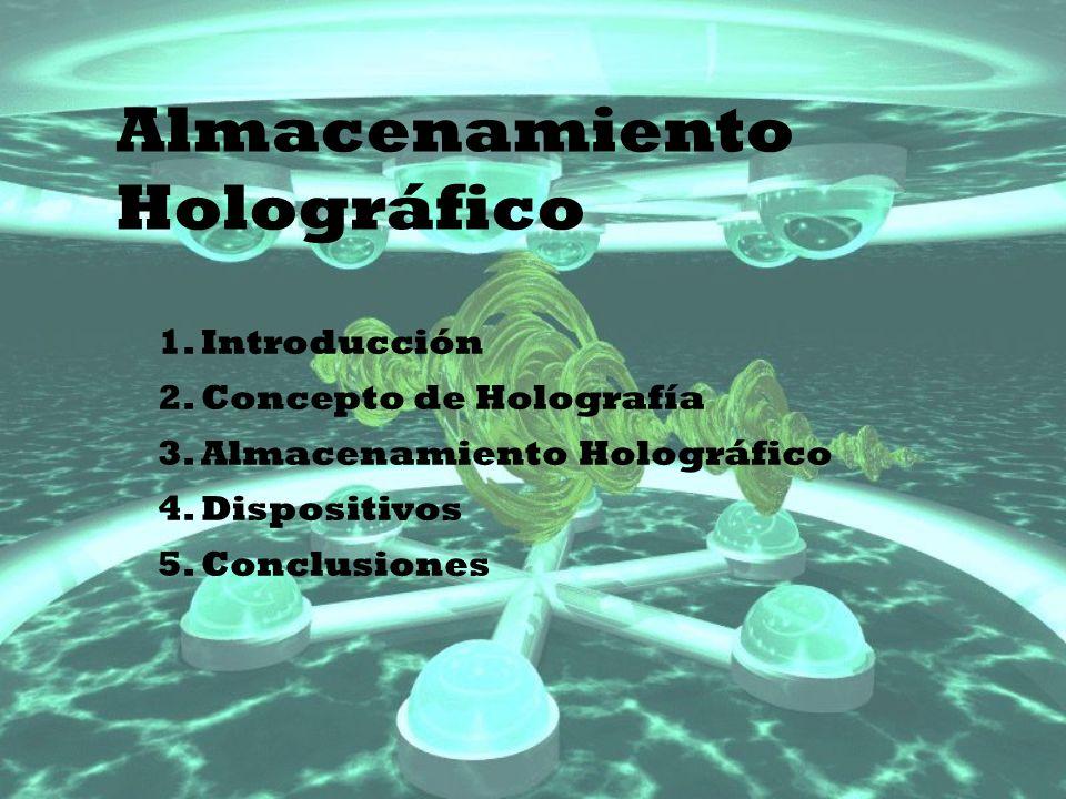 Almacenamiento Holográfico 1. Introducción 2. Concepto de Holografía 3. Almacenamiento Holográfico 4. Dispositivos 5. Conclusiones