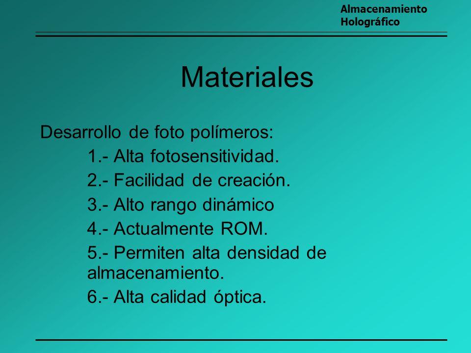Materiales Desarrollo de foto polímeros: 1.- Alta fotosensitividad. 2.- Facilidad de creación. 3.- Alto rango dinámico 4.- Actualmente ROM. 5.- Permit