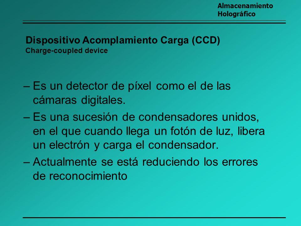 Dispositivo Acomplamiento Carga (CCD) Charge-coupled device –Es un detector de píxel como el de las cámaras digitales. –Es una sucesión de condensador