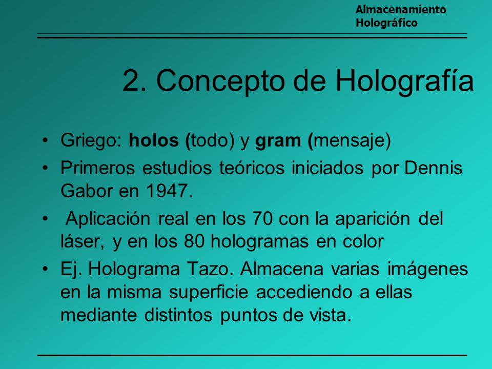 2. Concepto de Holografía Griego: holos (todo) y gram (mensaje) Primeros estudios teóricos iniciados por Dennis Gabor en 1947. Aplicación real en los