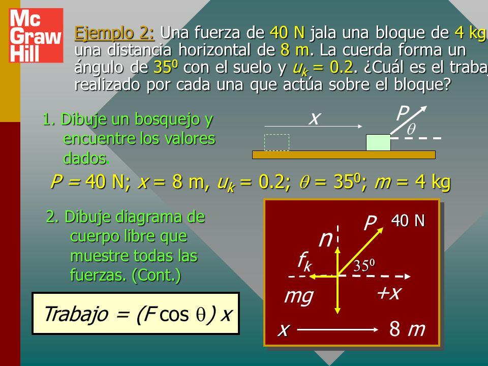Ejemplo 1: Una podadora se empuja una distancia horizontal de 20 m por una fuerza de 200 N dirigida a un ángulo de 30 0 con el suelo.