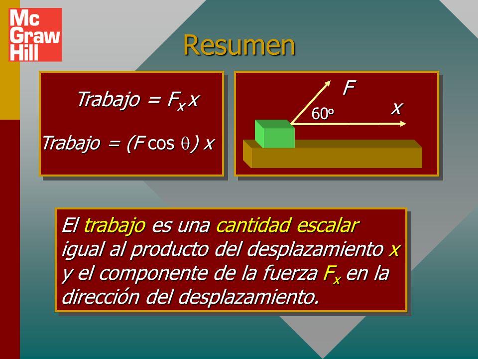 Caso general para resortes: Si el desplazamiento inicial no es cero, el trabajo realizado está dado por: x1x1 x2x2 F x1x1 m x2x2 m