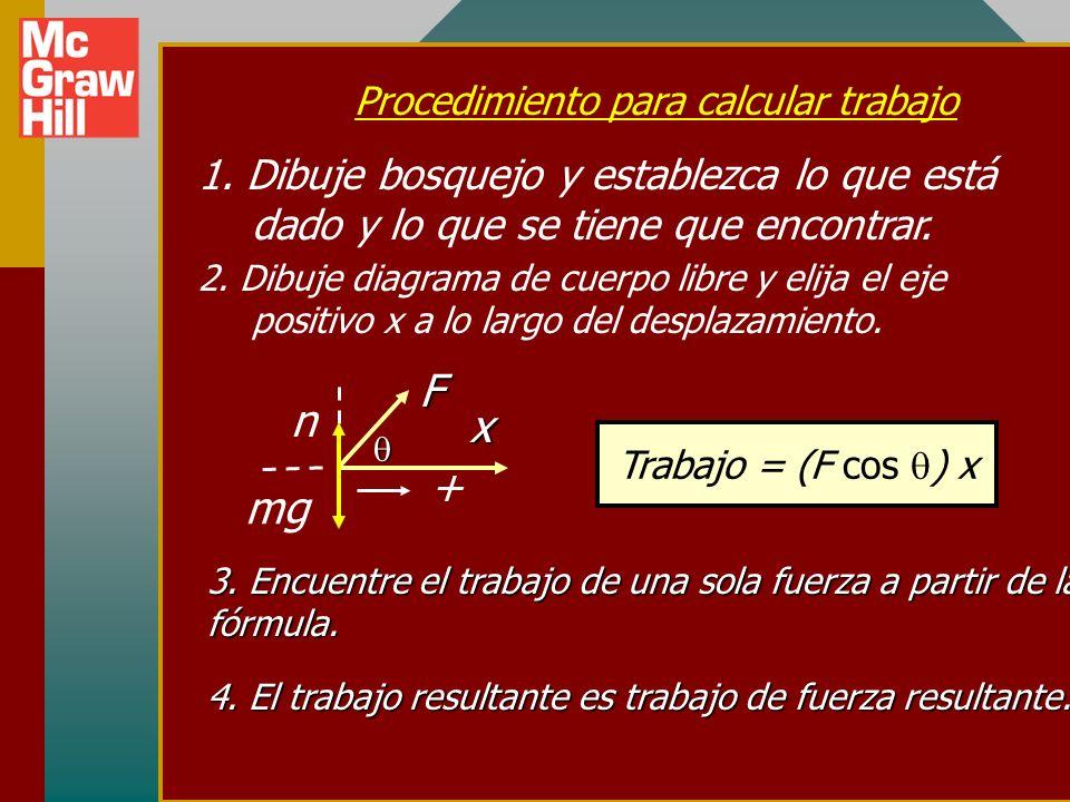 Resumen x xx x F 60 o Trabajo = F x x Trabajo = (F cos ) x El trabajo es una cantidad escalar igual al producto del desplazamiento x y el componente de la fuerza F x en la dirección del desplazamiento.