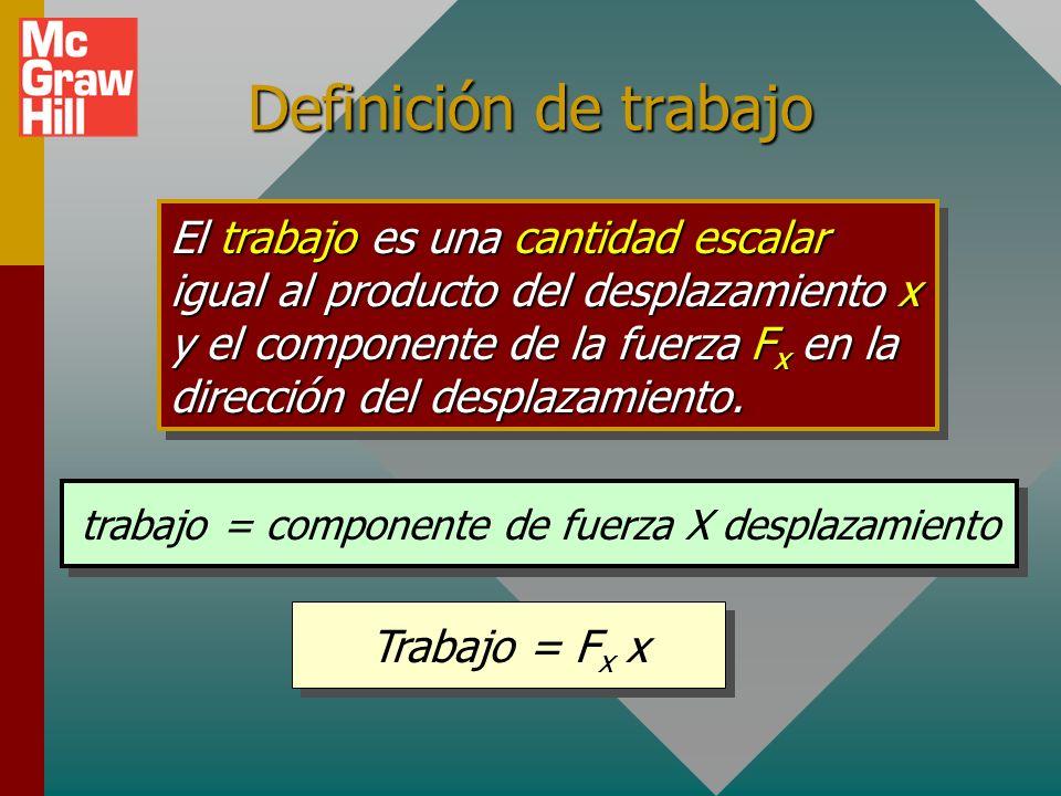 Definición de trabajo El trabajo es una cantidad escalar igual al producto del desplazamiento x y el componente de la fuerza F x en la dirección del desplazamiento.