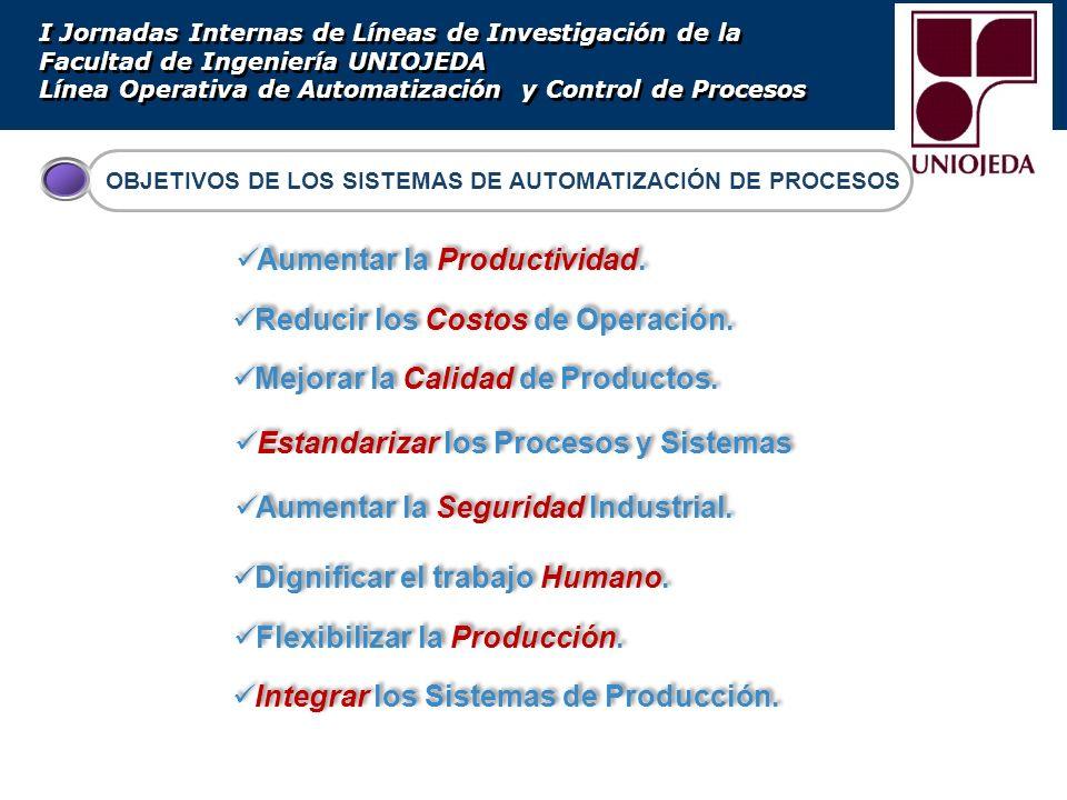 OBJETIVOS DE LOS SISTEMAS DE AUTOMATIZACIÓN DE PROCESOS I Jornadas Internas de Líneas de Investigación de la Facultad de Ingeniería UNIOJEDA Línea Ope