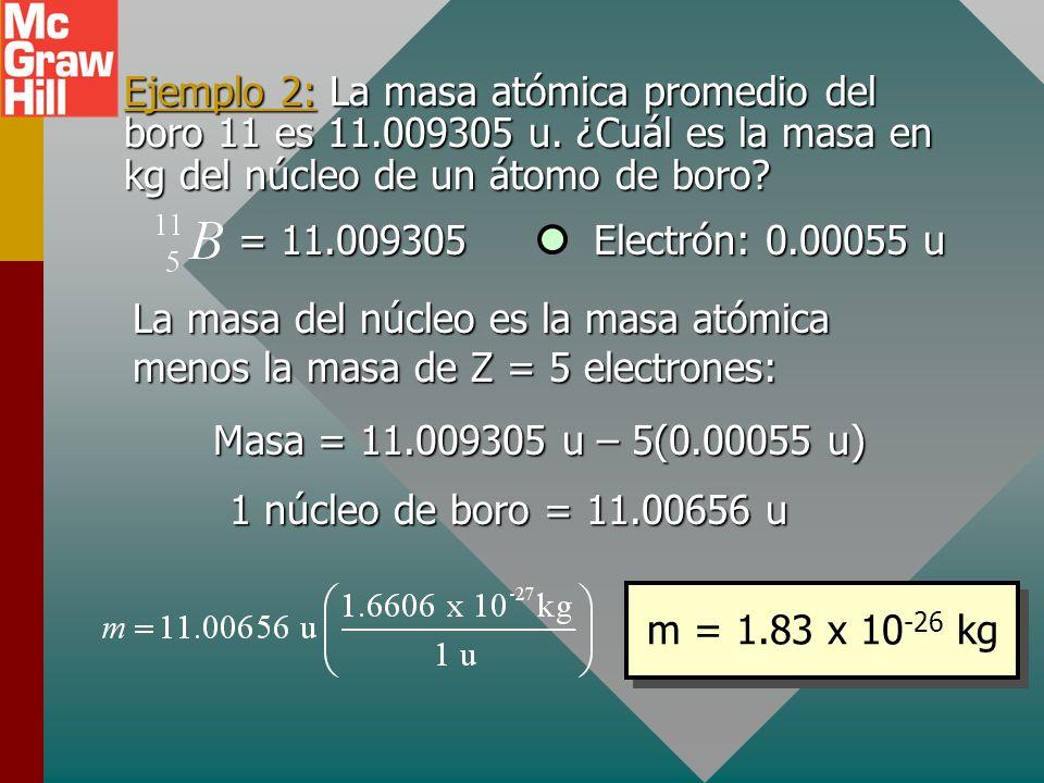 Unidad de masa atómica, u Una unidad de masa atómica (1 u) es igual a un doceavo de la masa de la forma más abundante del átomo de carbono: carbono 12